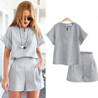 2016 Women Summer Style Casual Cotton Linen Top Shirt Feminine Pure Color Female Office Suit Set