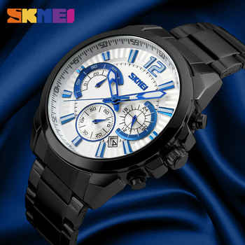 Mens Fashion Casual Watches Complete Calendar Quartz Wristwatches 50M Waterproof Stainless Steel Business Watch Male Clock SKMEI