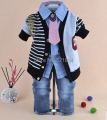 clearance new baby boy striped cardigan+shirt+pant+tie 4pcs clothing sets kids clothes sets boys striped clothing suit