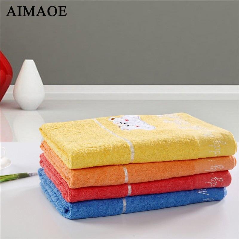100% Cotton Cute Teddy Bear Pattern Bath Towel 70 Cm * 140