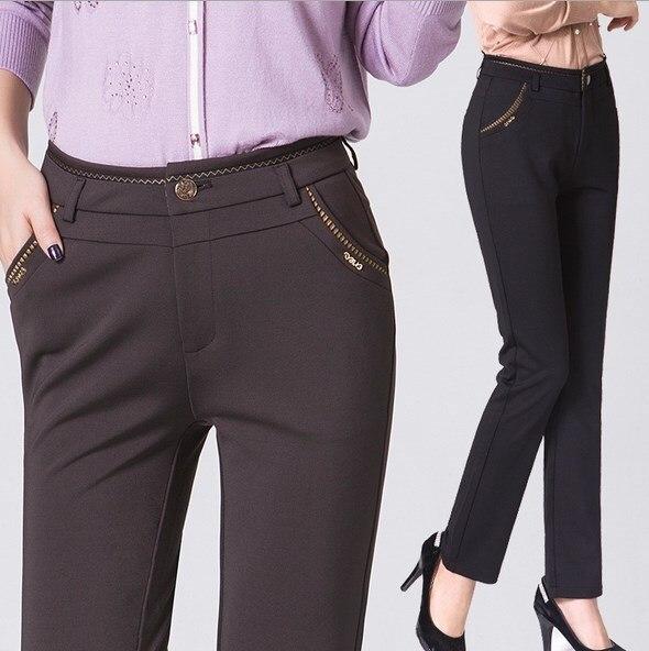 Pantalones De Traje De Negocios De Oficina Para Mujer Talla Grande Pantalones Formales Para Trabajo Formal Pantalones Largos Madre Mama Negro Gris Azul 6xl 7xl Dress Pants For Women Pants For Womenbusiness Pants