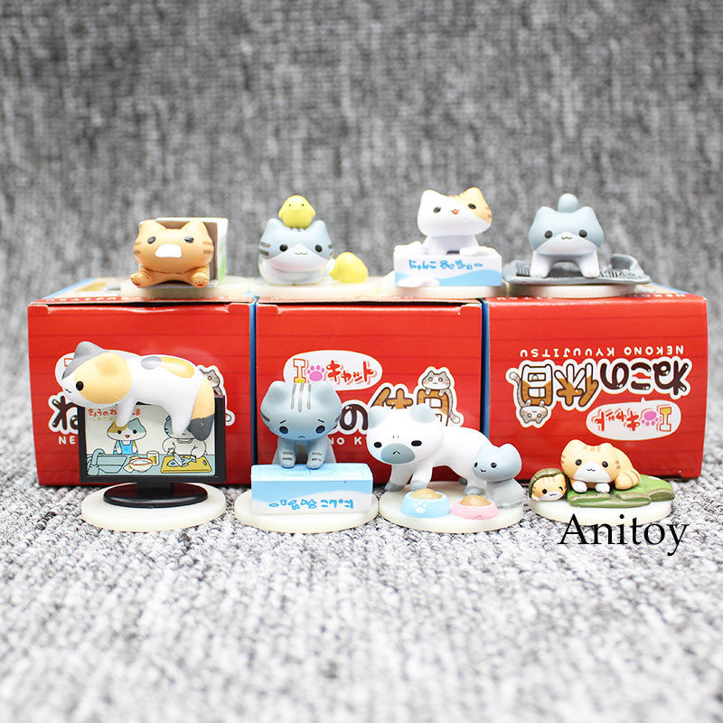 8pcs/set Anime Cartoon Neko Atsume Nekono Kyuujitsu Cute Lovely Cats PVC Action Figure Collectible Model Toy 5cm KT3581 arale figure anime cartoon dr slump pvc action figure collectible model toy children kids gift 6 types