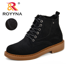 ROYYNA Fashion Motocycle Booties Women Boots Botas Female Womens Ankle Square Heel Autumn Shoes Ladies Comfy