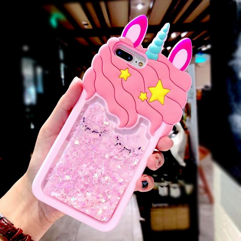 3D Cartoon Pink Quicksand Unicorn Soft Silicone Liquid Stars Case for Iphone 7 Plus 8 6 6S plus 5 S 5S SE XS Max XR X Phone Case (5)
