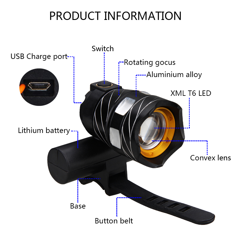 15000 Lumens T6 LED Bicycle Front Light 3000mAh with Combo Deal ...