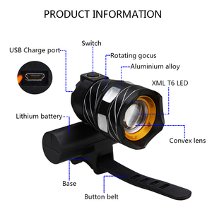 Image 3 - T6 LED USB Line Rear Light Adjustable Bicycle Light 3000mAh Rechargeable Battery Zoomable Front Bike Headlight Lamp
