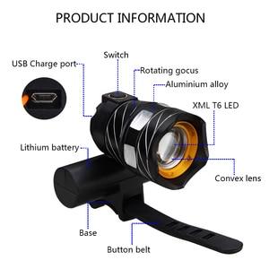 Image 3 - T6 LED USB Linea Luce Posteriore Regolabile Luce Della Bicicletta 3000mAh Batteria Ricaricabile Zoomable Anteriore Della Bici Della Lampada Del Faro