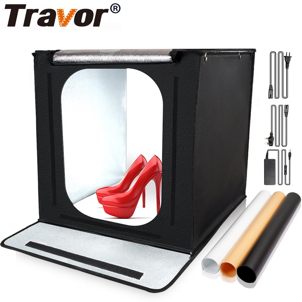Travor 40*40cm Light Box Portable Lightbox With 3 Colors Background For Studio Photo Folding Softbox Tent Photography Box Light
