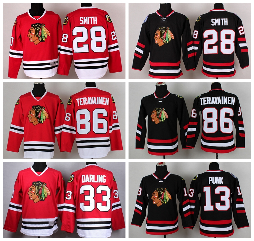 ice hockey chicago blackhawks jersey 28 ben smith 33 scott darling 13 cm punk 86 teuvo teravainen je