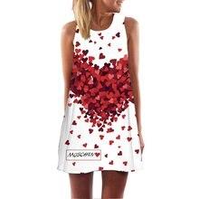 ФОТО summer women boho dresses sexy female sleeveless o-neck printed dress casual women  beach mini dress