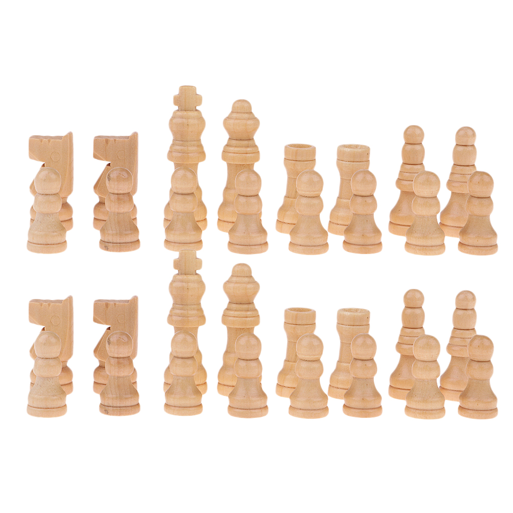 32pcs International Chess Set Pieces Checkers Wooden Chessman 48mm King Queen Castle Elephant Horse Pawn