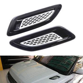 BBQ@FUKA 2Pcs Dummy Hood Air Vent Outlet Wing Trim For Land Rover Discovery 4 Range Rover Evoque LR2