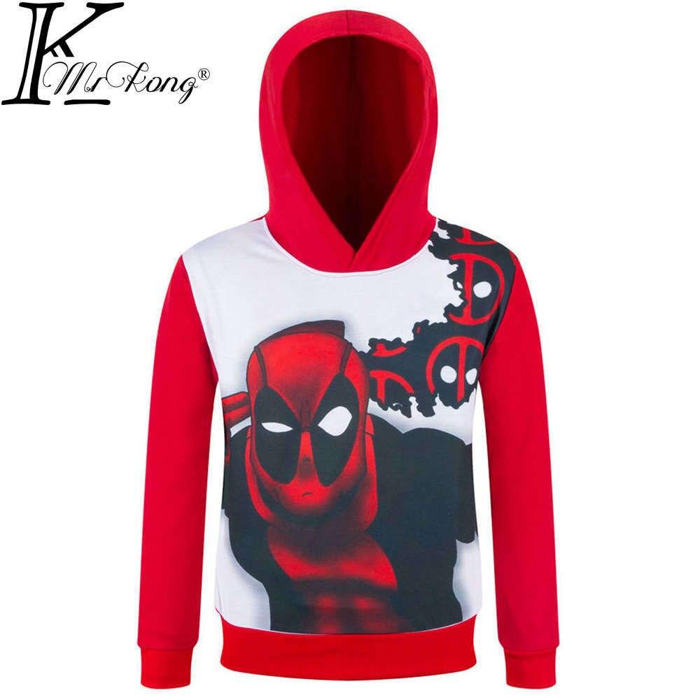 2017 Brand New boys superhero hoodies children super hero Sweatshirts long sleeve kids deadpool Outerwear coat tops for 3-10 Y