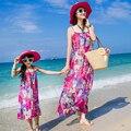 Семья мода одежду для матери и дочери летом пляж макси платья девушки шифон скольжения платье 1269