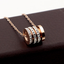 Fashion Jewelry, class columns, triring white stone pendant necklace, rose gold, female style