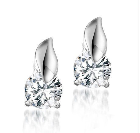 Wholesale (30 pairs/lot) CZ Created Korean Earrings leaf and Zirconia Stud Earrings Free Shipping цена и фото