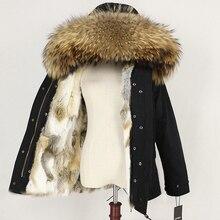 Зимняя женская куртка, пальто с натуральным мехом, парка с воротником из натурального меха енота, Толстая теплая подкладка из кроличьего меха, уличная одежда, новинка, повседневная одежда