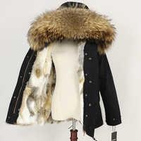 Winter Jacke Frauen 2019 Echtpelz Mantel Parka Natürliche Waschbären Pelz Kragen Dicke Warme Kaninchen Pelz Liner Streetwear Marke Neue casual