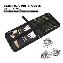 Bianyo 30pcs Sketch Pencil Set Professional Sketching Drawing Wood Charcoal Bag for School Students Art Supplies