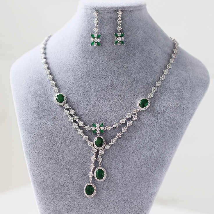 Emerald green hochzeit brautschmuck, vergoldete zirkon braut halskette ohrring anzug, weibliche bankett party zubehör