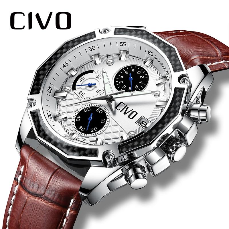 CIVO Mens Watches Waterproof Chronograph Calendar Male Clock Analogue Business Quartz Watch Genuine Leather Wrist Watch For Men