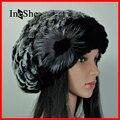 IneShe Mujeres Sombreros Tapas Que Hacen Punto Genuino de la Piel de Piel de Conejo Rex ruso Sombrero Stripe Natural Fur Hats Mujer Invierno Gorros Calientes M3015