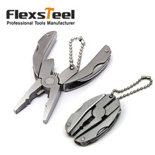 Flexsteel Silver Stainless Steel Multi Function Folding Pocket Tools Mini Plier Knife Keychain Set цена