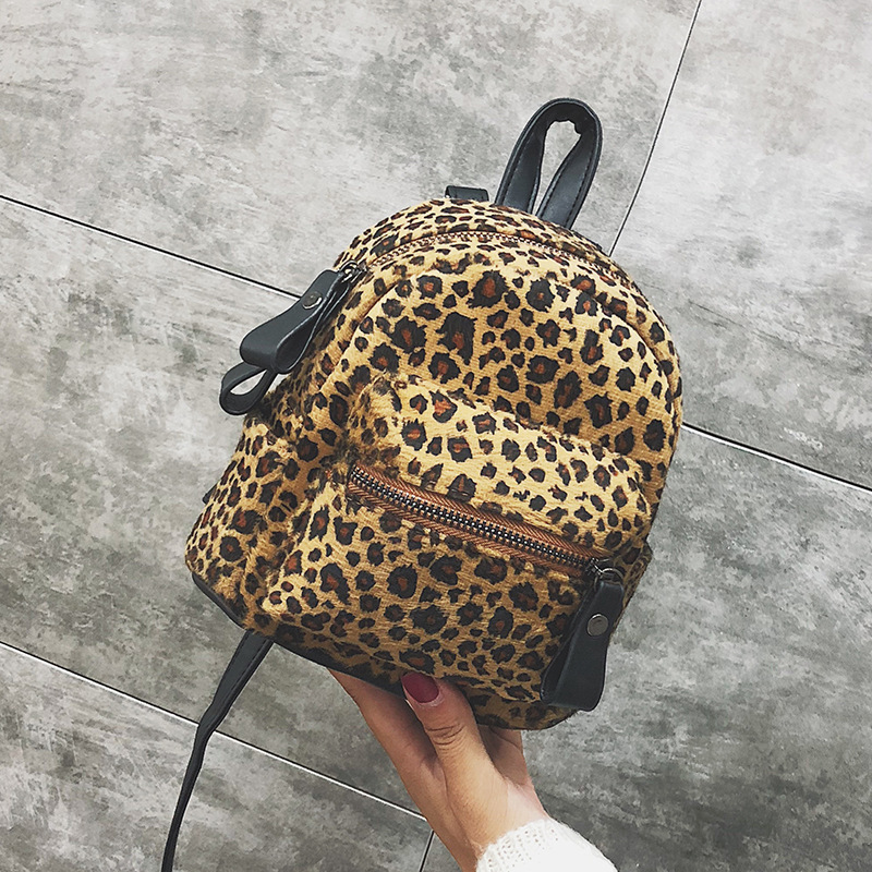 Women Mini Leopard Backpack Fashion Plush Zipper Zebra Backpacks Children  Small Backpack Kids Travel Bags Christmas Gift