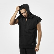 Fitness Men Bodybuilding Sleeveless Muscle Hoodies Workout Clothes Casual Cotton Hooded Black grey high quality personality