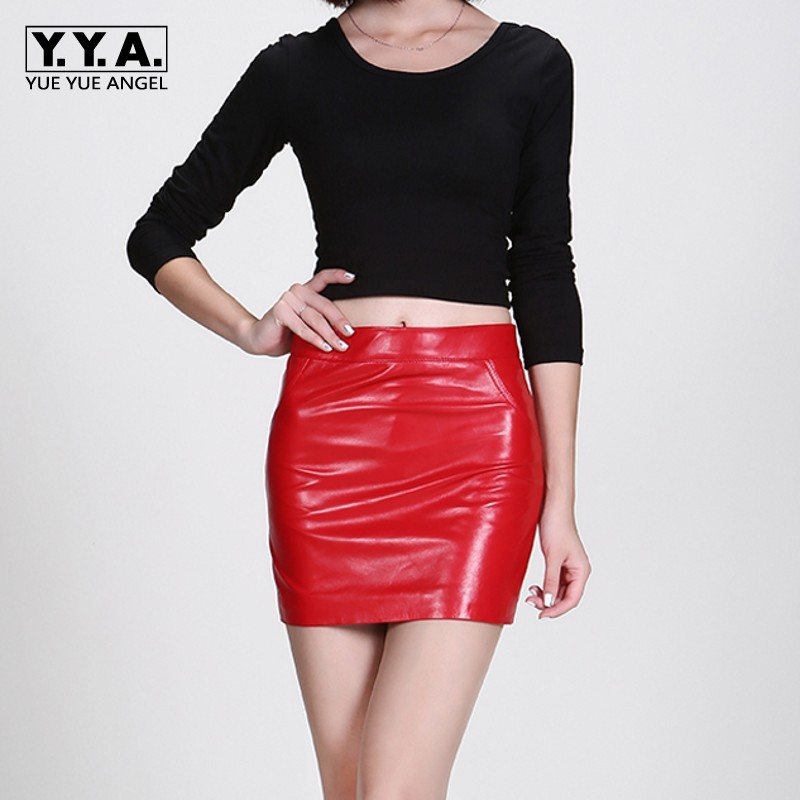 Office Lady Real Sheepskin Leather Women Skirts High Quality Streetwear Sexy Wrap Jupe Femme Classic Casual Mini Bodycon Faldas