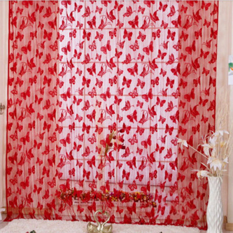 Colored Romance Butterfly Pattern Tassel String Door Curtain Window Room  Curtain Home Decor White Black Red Green