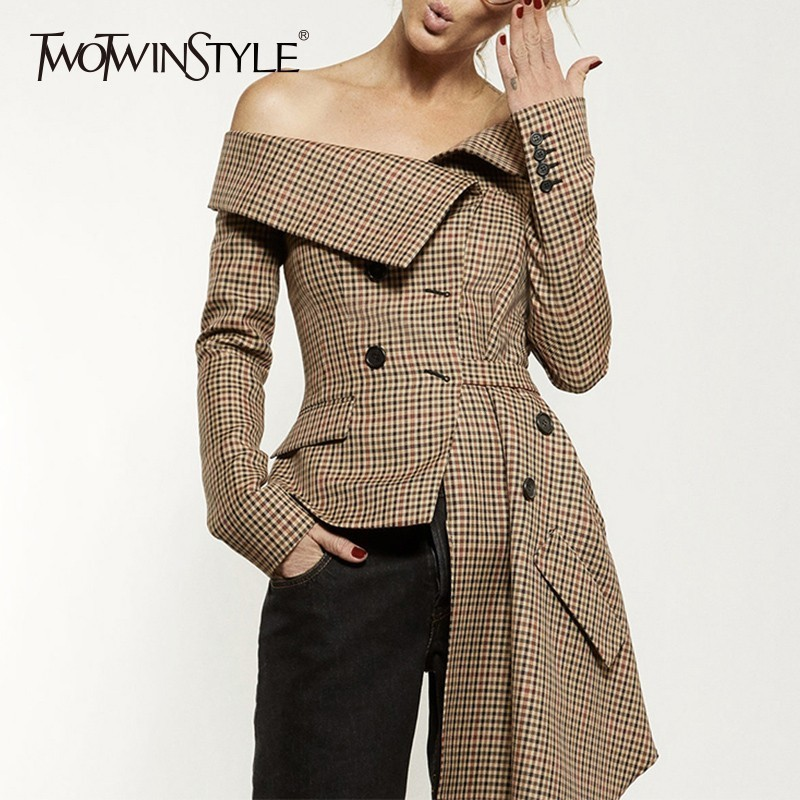 TWOTWINSTYLE Plaid Blazer Tops Female Irrgular Patchwork Slash Neck Long Sleeve Lace up Women Jacket Coat