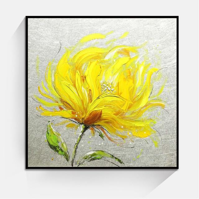 Gelbe Chrysantheme Blumen Bild Kunst Wand Öl Malerei Hauptdekoration Schlafzimmer  Wohnzimmer Leinwand Gemälde Ungerahmt
