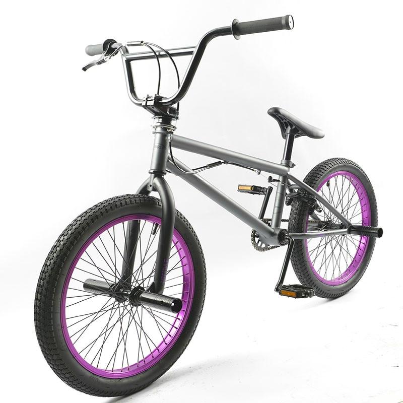 20 Pouce BMX vélo en acier cadre Performance Vélo violet/rouge pneu vélo pour le spectacle Stunt Acrobatique Vélo arrière Fantaisie rue vélo