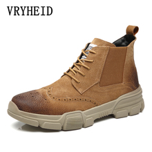 VRYHEID Brand Suede Leather Men Boots AutumnWinter Ankle Boots Fashion Footwear Lace Up Shoes Men High Quality Vintage Men Shoes top brand unique design black suede boots back front lace up fastening dress boots trendy ladies footwear thin high heel shoes