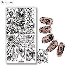 Mezerdoo Halloween Rectangle Nail Stamping Template DIY Cross Bloody Skull Design Art Image Plate Tools C17