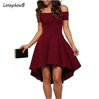 Loneyshow 2017 Hot Sale Summer Dress Women Vintage Off The Shoulder Party Ruffles Dresses Women Sexy