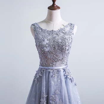 Grey Lace Sequined Backless A Line Long Evening Dresses  Embroidery Sleeveless Short Train Formal Evening Dress 5