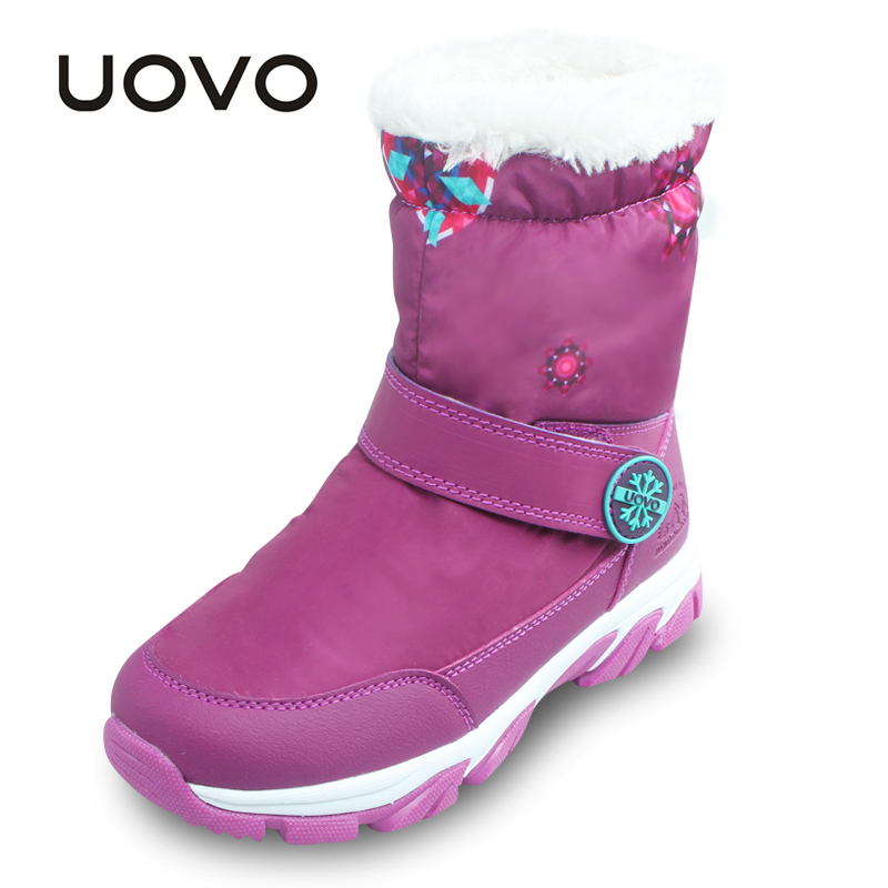 UOVO Girls Boots Purple Kids Snow Boots Waterproof Children Boots Warm Winter Shoes for Children Girls uovo christmas winter warm children medium knitted wool snow boots for kids girls cow suede cotton boots shoes for 4 10t ccs027