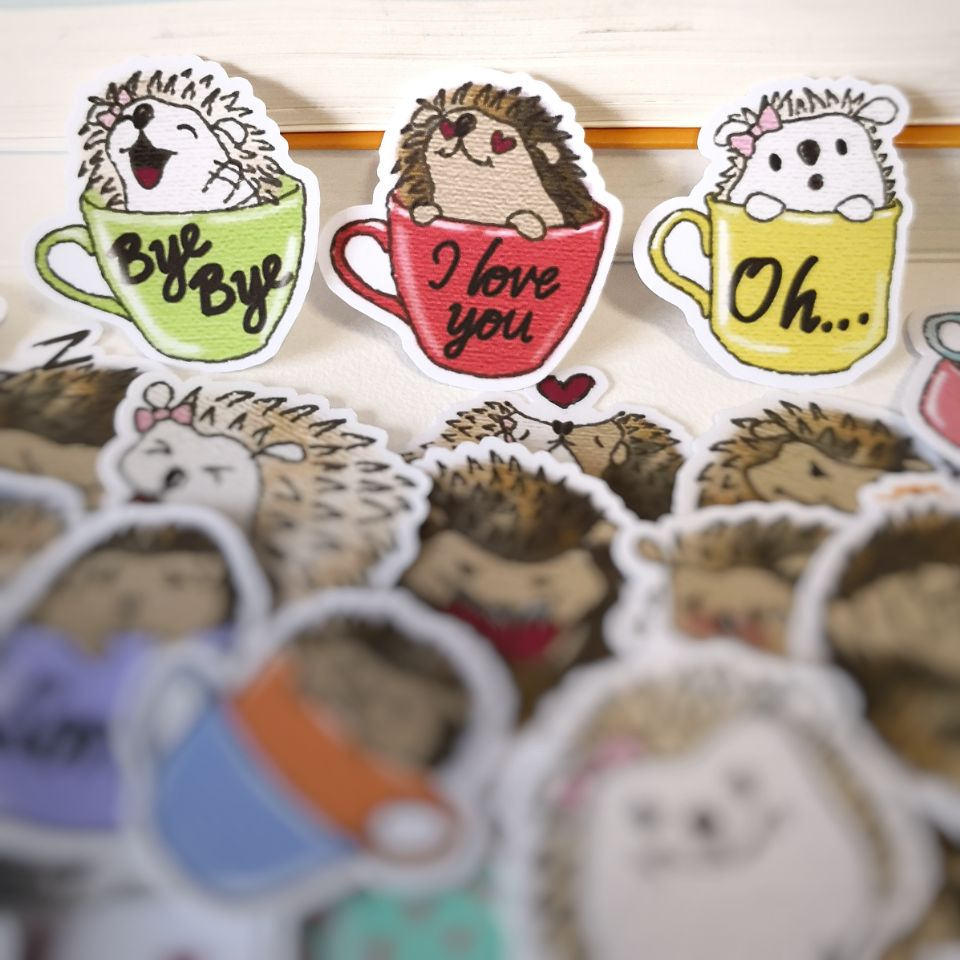 20/40pcs Children's Comics Funny Cute Hedgehog Cartoon Sticker Notebook Skateboard Bike DIY Waterproof Sticker