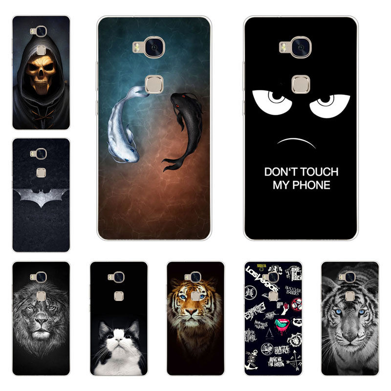 huawei honor 5x case,Silicon Gossip fish Painting Soft TPU Back Cover for huawei honor 5x gr5 protect Phone shell