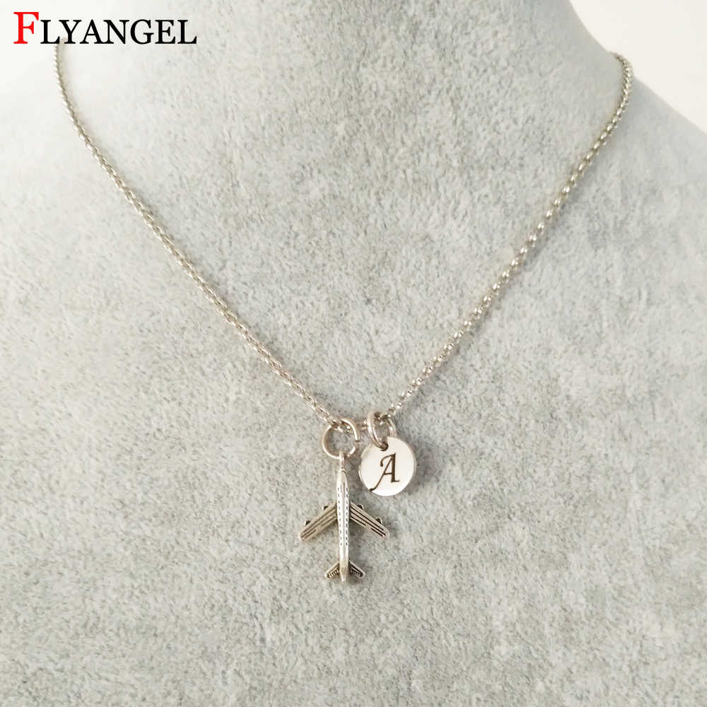 New Customized Initials Air Plane Pendant Necklace For Women Men Aircraft Pendant Alloy Chain Collar Necklaces Gift Jewelry