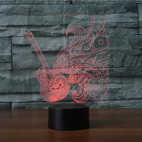Novelty 7 Colorful Atmosphere Guitar Shape 3D LED Night Light Musical Instruments Desk Table Lamp Baby
