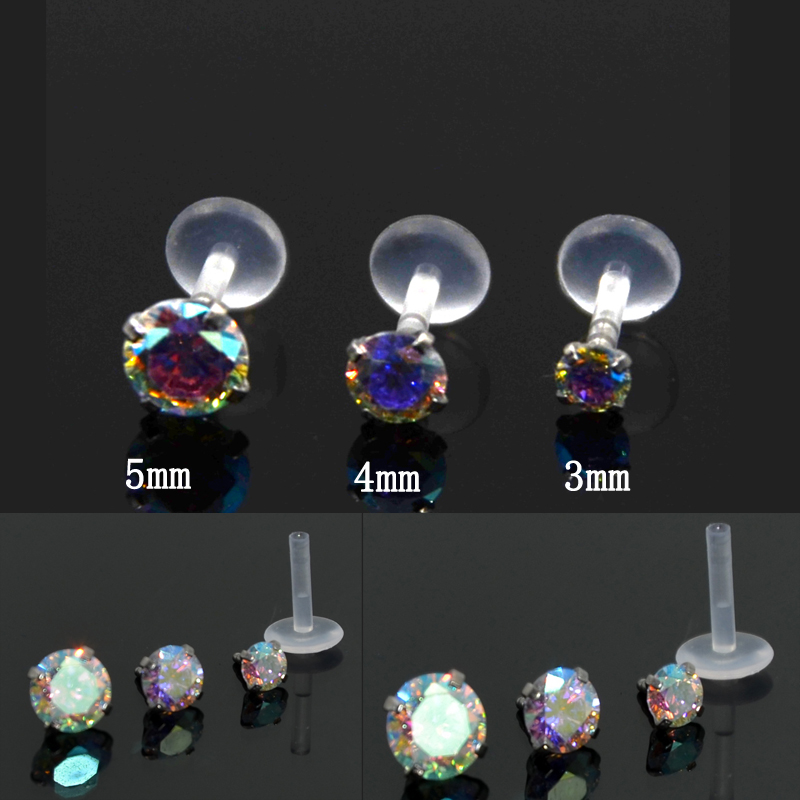 PUSH FIT BIOPLAST WITH 4mm CRYSTAL TOP LABRET TRAGUS STUD ~ VARIOUS SIZES