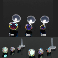 Showlove-1PCS Aurora Multicolor Gem Bioplast Labret Flexible Monroe Labret Lip Bar Ring Earring Push Fit Top 16g