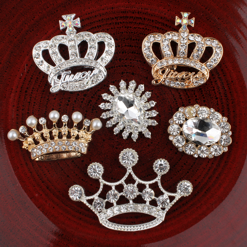 120PCS Vintage crown oval flower Metal Rhinestone Buttons Bling Flatback Flower Centre Crystal Buttons for Hair
