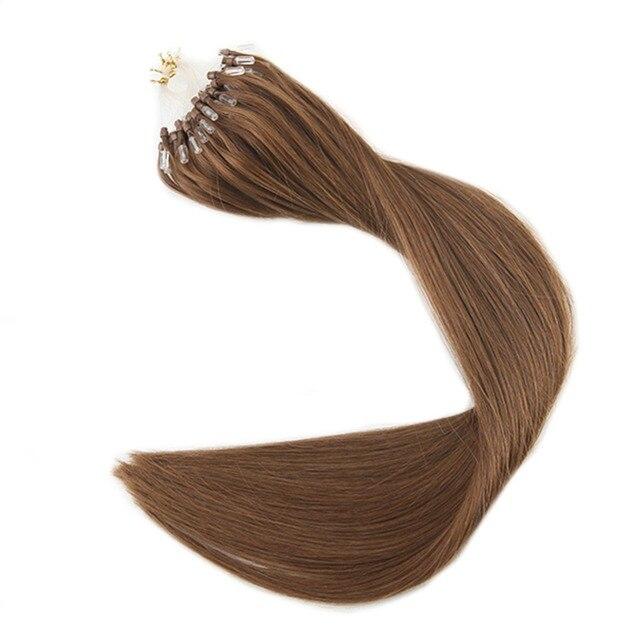 Full Shine Color8 Ash Brown Micro Loop Ring Hair Extensions Hair