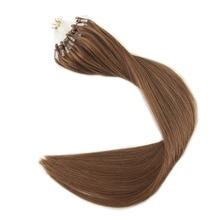 Full Shine Color#8 Ash Brown Micro Loop Ring Hair Extensions Hair