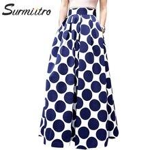 Surmiitro Long Maxi Skirt Women 2019 Spring Summer Plus Size Vintage Floral A-line