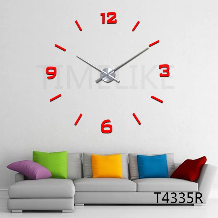 100CM Big Wall Clock 3D DIY Wall Stickers Clock Modern Home Decor Quartz Mechanism Large Clock Needles
